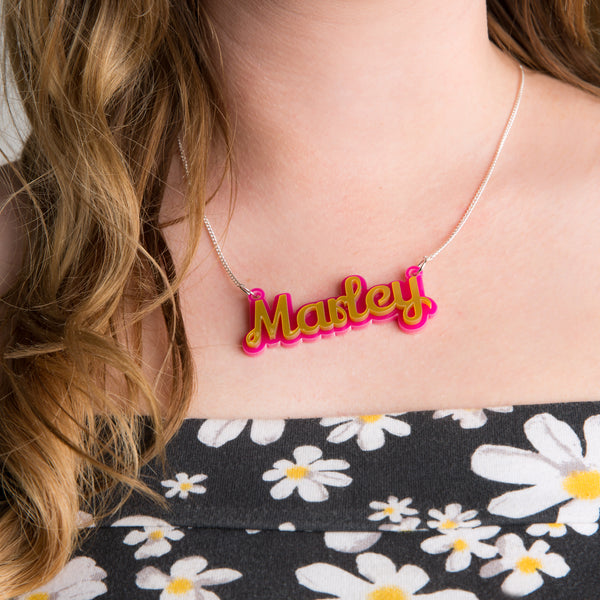 Double the Colour Name Necklace - Funky Laser