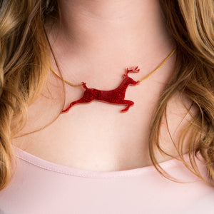 Reindeer Acrylic Pendant Necklace - Funky Laser