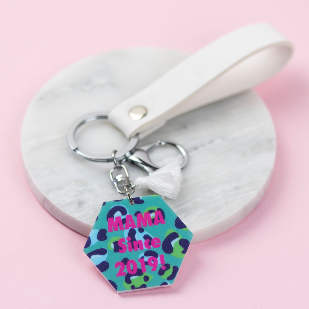 Leopard Print Personalised Message Keyring - Funky Laser
