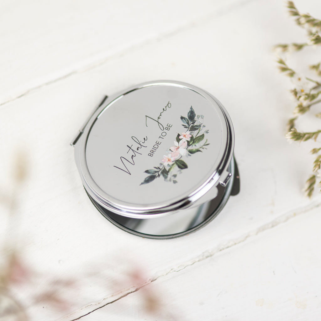Personalised Bride To Be Pocket Mirror Gift - Funky Laser