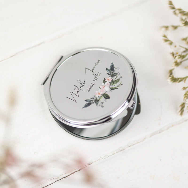 Personalised Bride To Be Pocket Mirror Gift