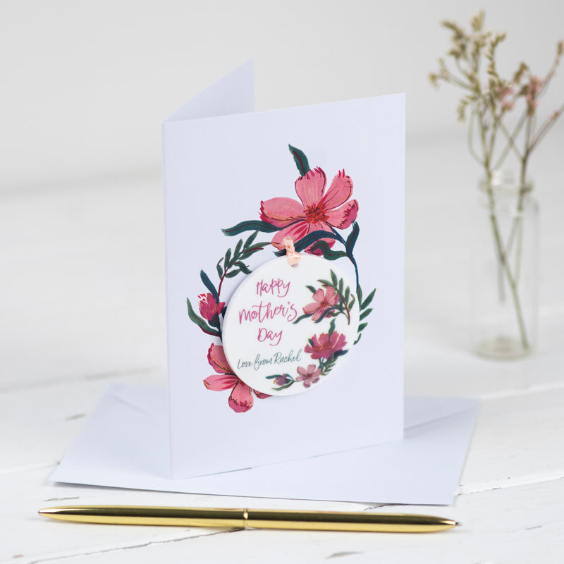 Floral Card With Personalised Hanging Decoration Token