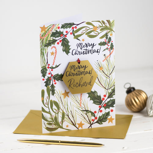 Christmas Card With Personalised Hexagon Bauble - Funky Laser