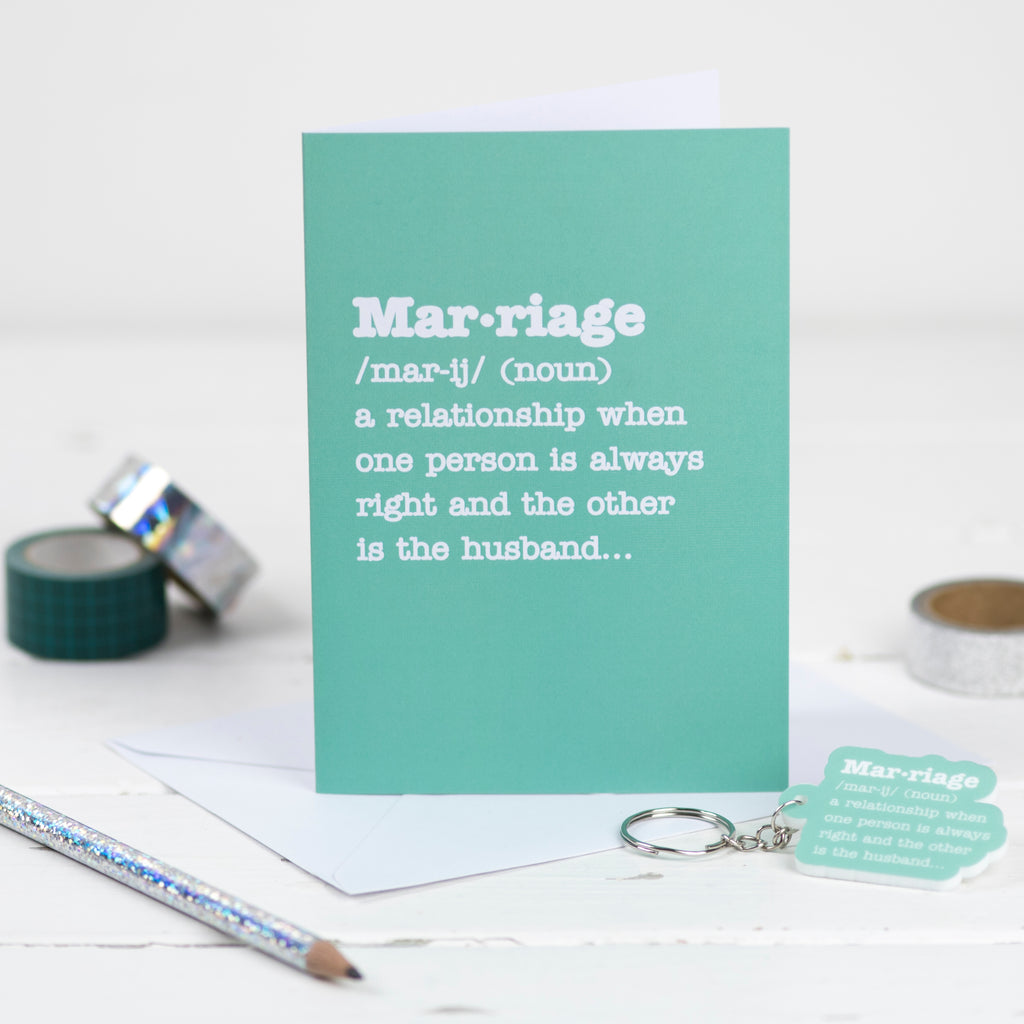 Marriage Definition Card With Matching Keyring - Funky Laser
