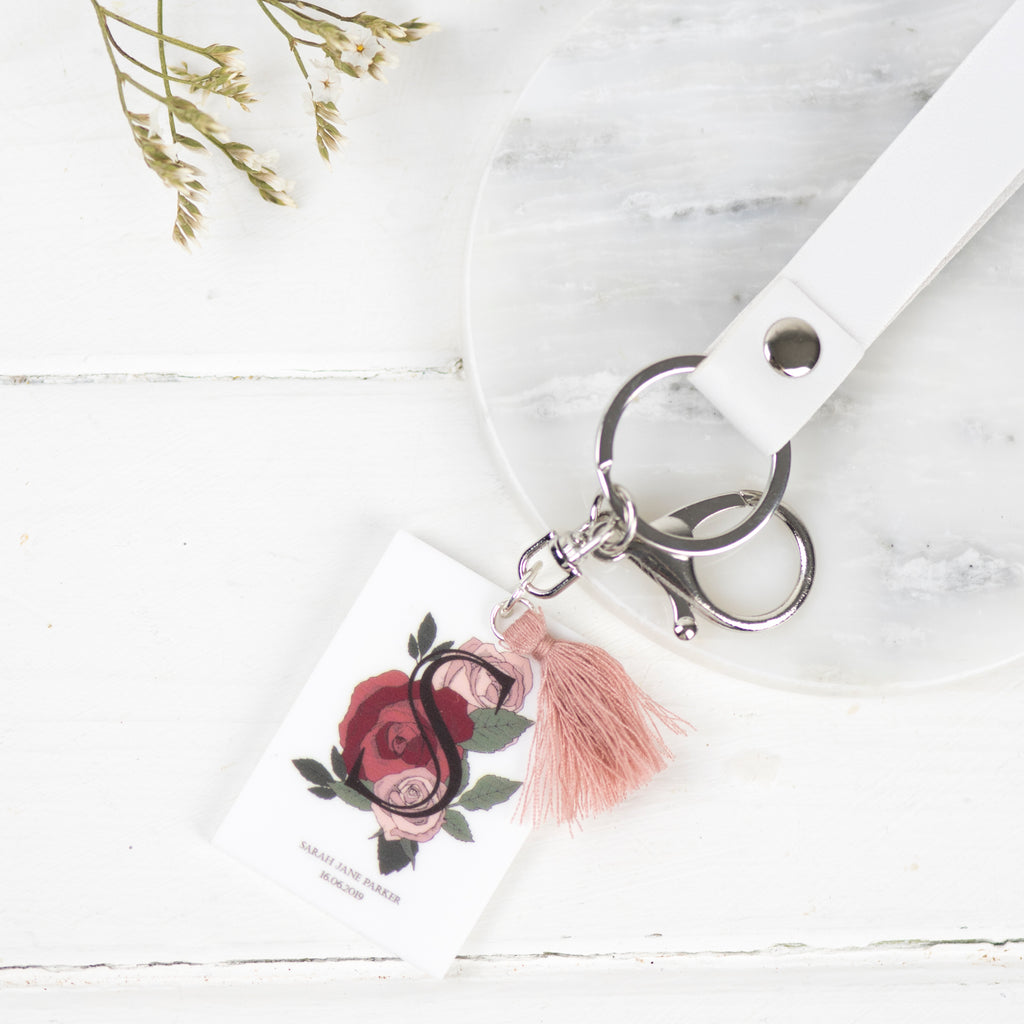 Birth Flower Personalised Keepsake Keyring - Funky Laser