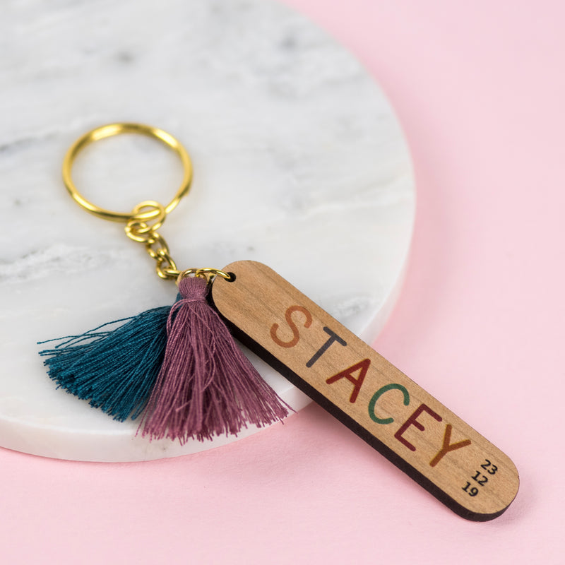 Rainbow Personalised Name Wooden Tassel Keyring - Funky Laser
