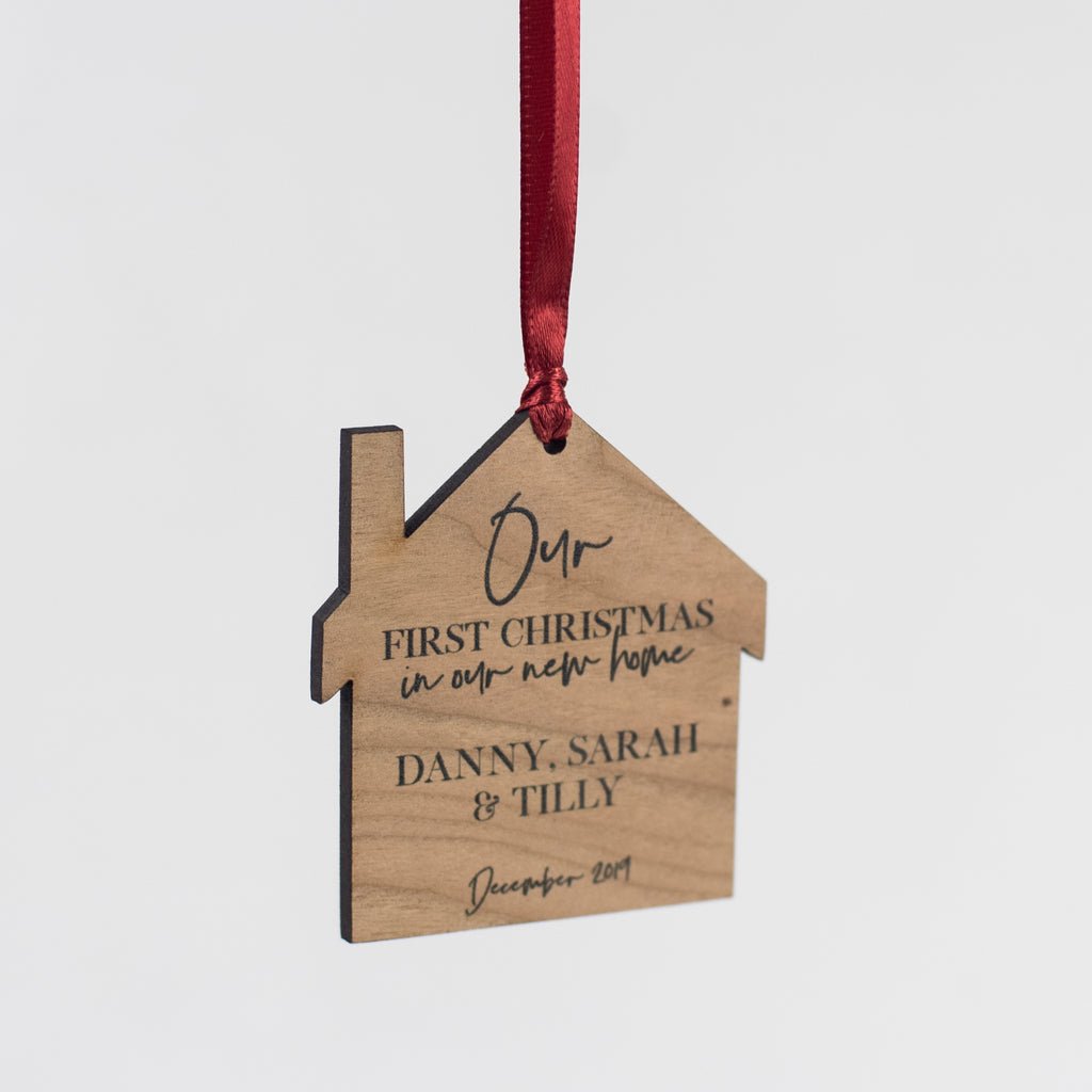 Personalised New Home Cherry Wood Hanging Decoration