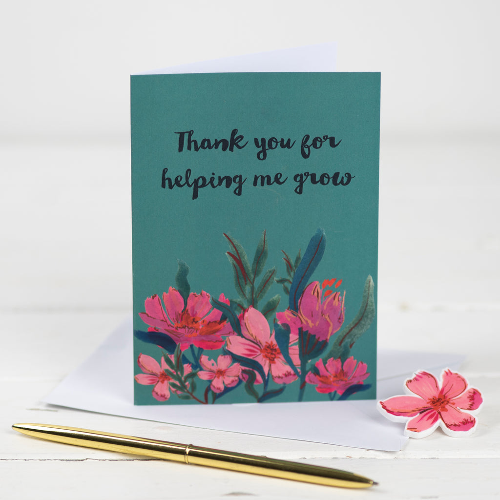 Thank You For Helping Me Grow Floral Card And Pin