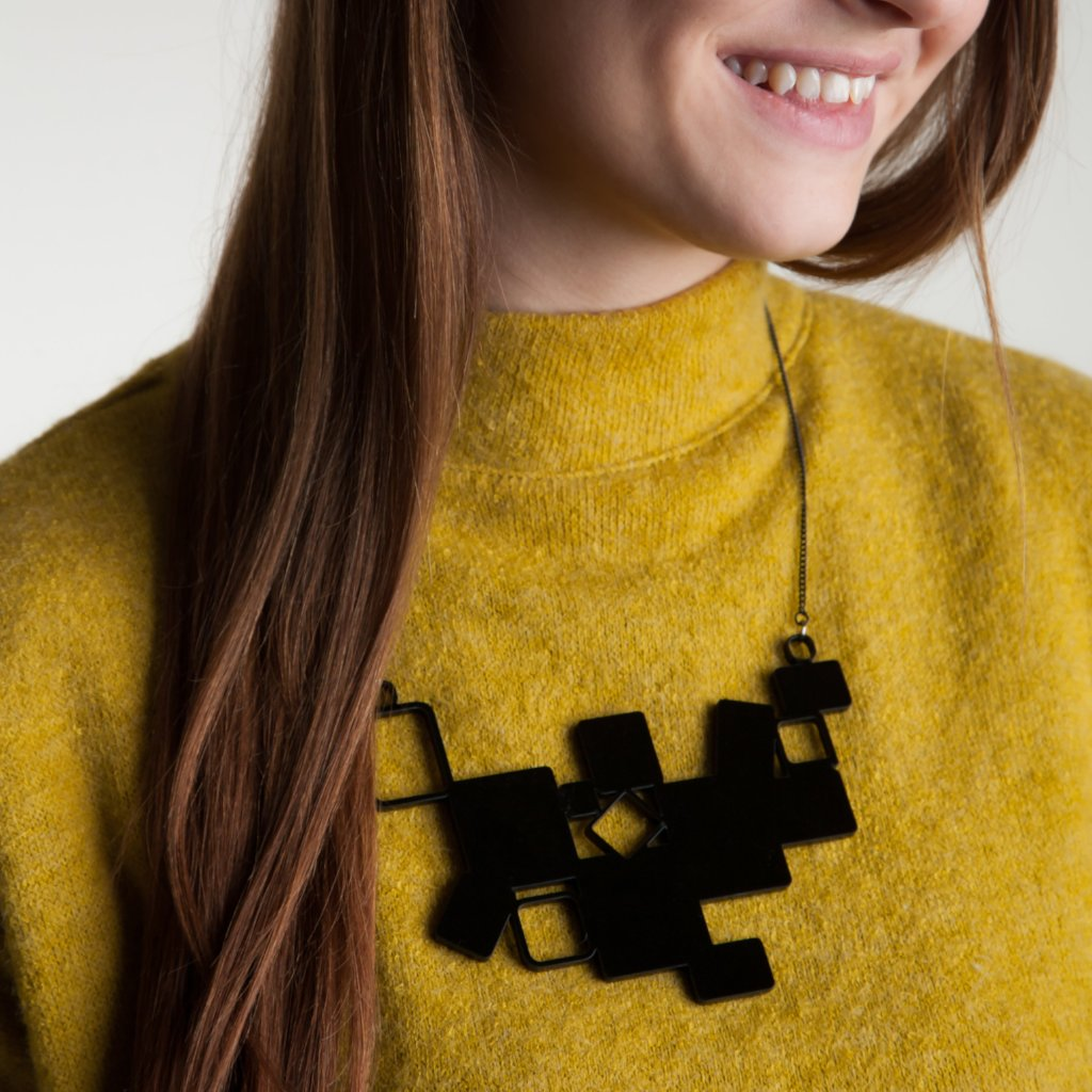 Geometric Cubes Statement Necklace - Funky Laser
