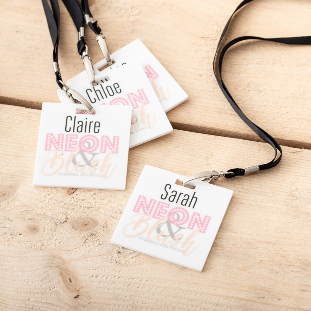 Custom Printed White Acrylic Branded Lanyards - Funky Laser