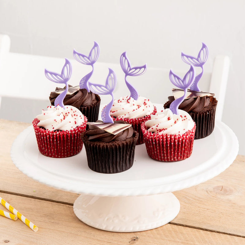 Mini Mermaid Tail Cupcake Decorations Set Of Six - Funky Laser