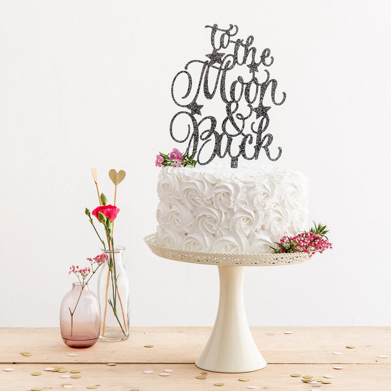 To the Moon and Back Cake Topper with Stars in Black Glitter - Funky Laser