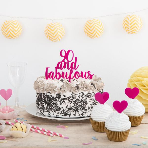 90 and Fabulous Cake Topper - Funky Laser