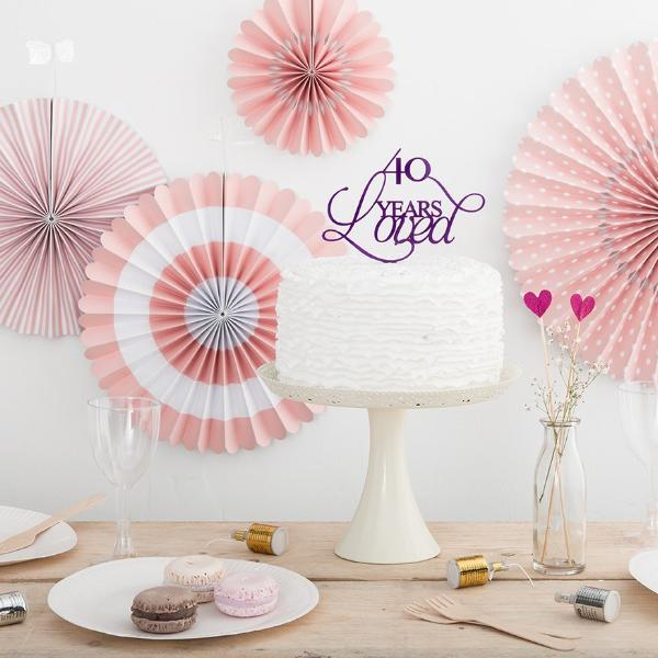 40 Years Loved Birthday Celebrations Cake Topper - Funky Laser