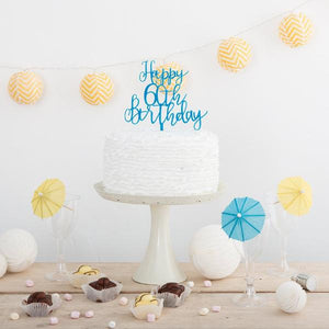 Happy 60th Birthday Cake Topper - Funky Laser