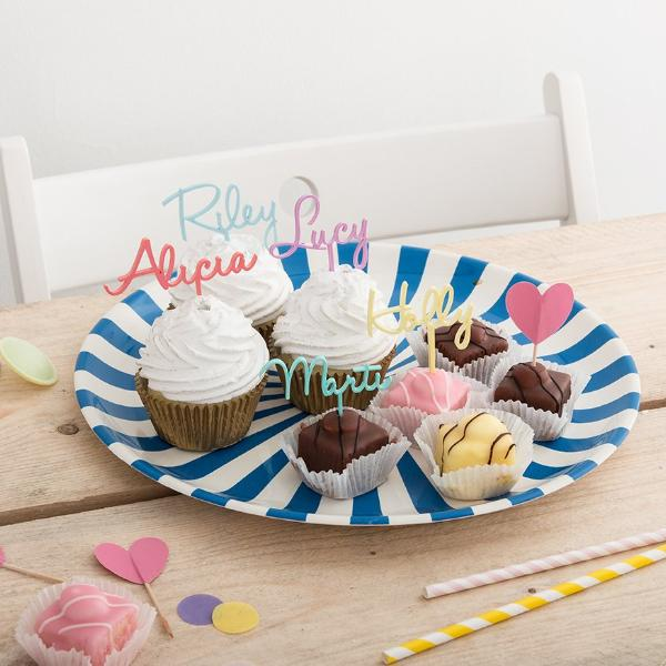 Personalised Set Of Five Name Cake Topper Picks - Funky Laser
