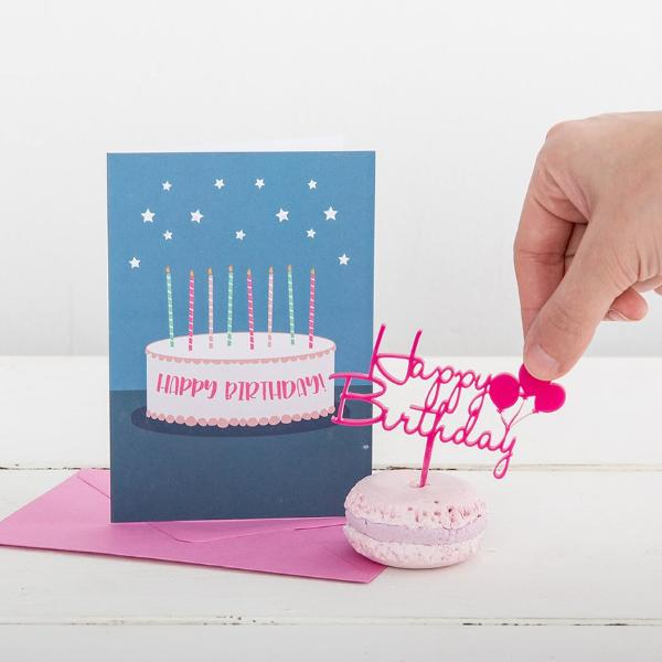 Happy Birthday Card And Mini Birthday Topper Gift