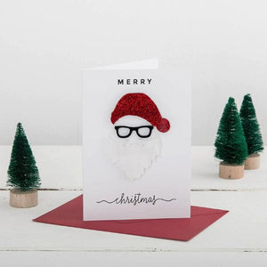 Merry Christmas Santa Hat And Beard Novelty 3D Card - Funky Laser