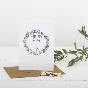 Will You Be My Bridesmaid Card And Pin Badge - Funky Laser
