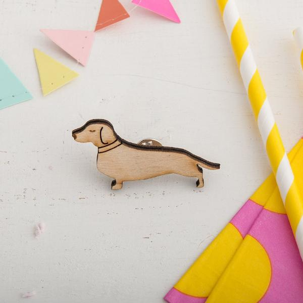 Little Wooden Sausage Dog Brooch Pin - Funky Laser