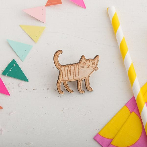 Little Wooden Cat Pin - Funky Laser