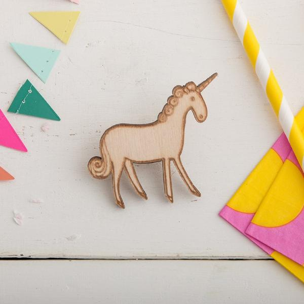 Illustrated Wooden Unicorn Brooch - Funky Laser