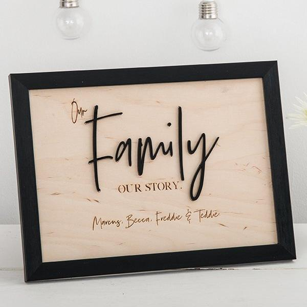 Personalised Family Tree Framed Sign - Funky Laser