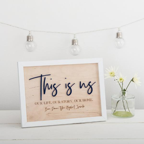 This Is Us, Personalised Family Sign in Navy with White Frame - Funky Laser