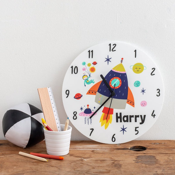 Boy's Space Themed Personalised Clock - Funky Laser