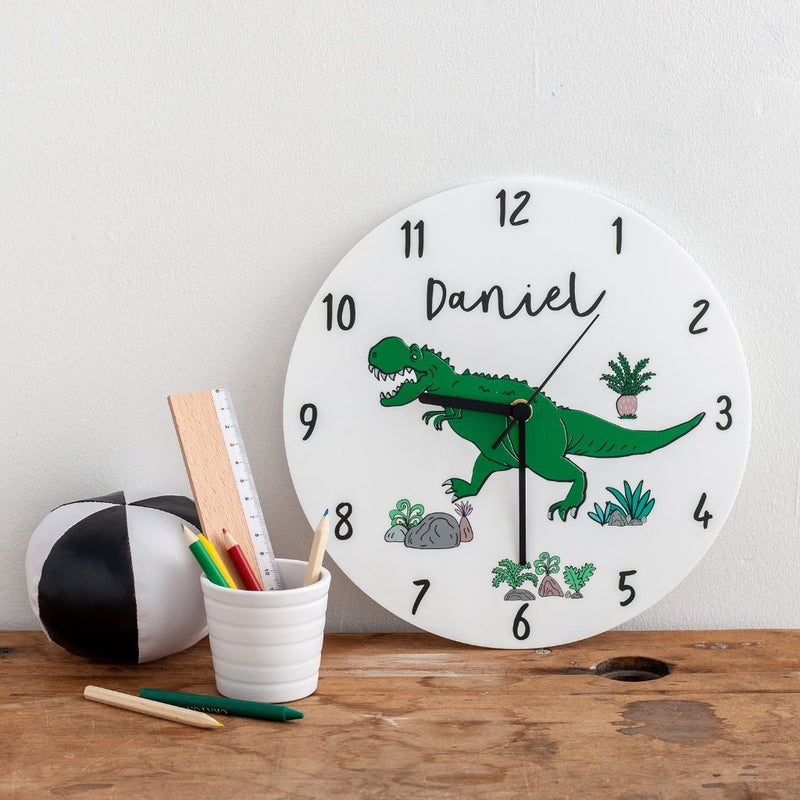 Boy's Dinosaur Themed Personalised Clock - Funky Laser