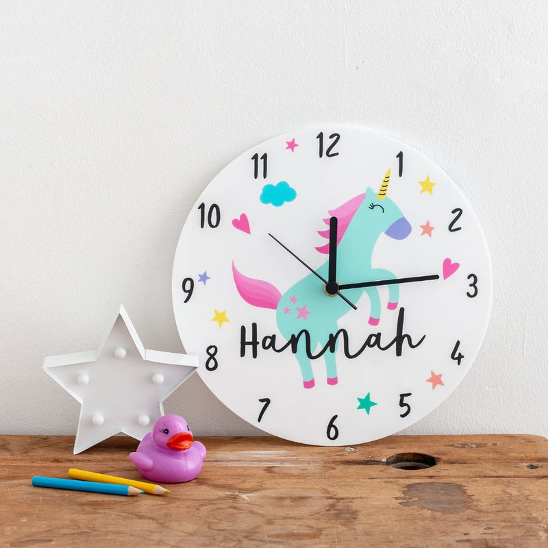Girl's Unicorn Themed Personalised Clock - Funky Laser