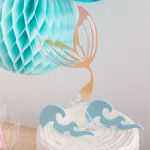 Mermaid Fishtail And Waves Party Cake Topper - Funky Laser