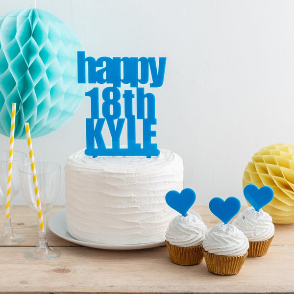 Personalised Bold Birthday Name And Age Cake Topper