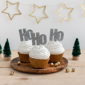 Ho Ho Ho Christmas Cupcake Topper Decorations - Funky Laser