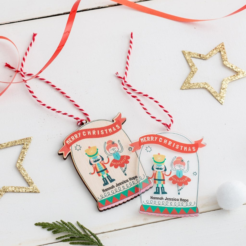 Personalised Christmas Nutcracker And Ballerina Bauble - Funky Laser