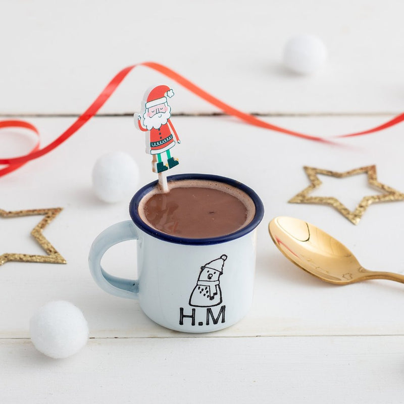 Personalised Christmas Mini Enamel Mug with Santa Drink Stirrer - Funky Laser