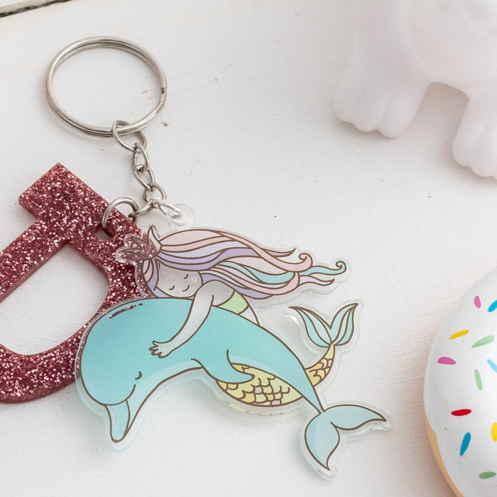 Personalised Book Bag Initial Keyring And Mermaid Tag - Funky Laser