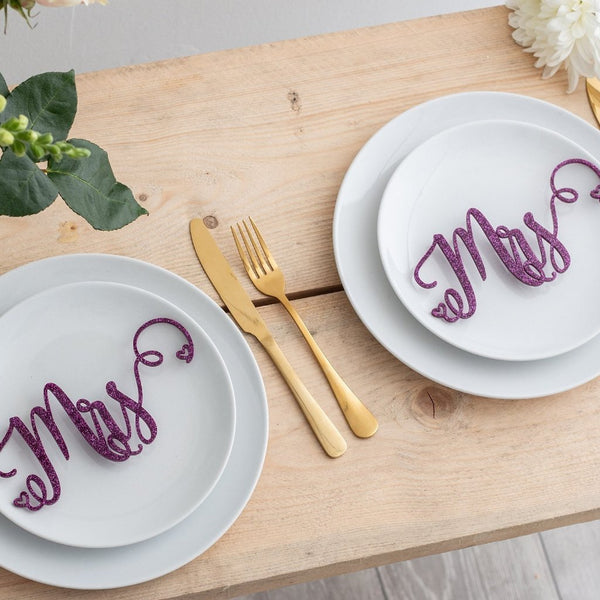 Mrs And Mrs Same Gender Wedding Place Settings Table Decoration - Funky Laser