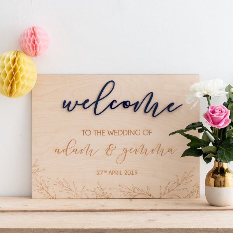 Personalised Welcome To The Wedding Of Sign - Funky Laser