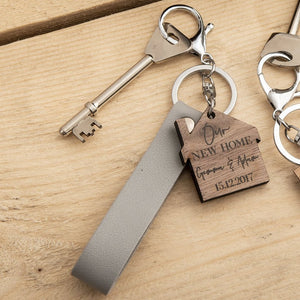 Personalised New Home Walnut Wood Keyring - Funky Laser