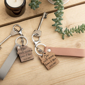 Personalised His And Hers New Home Keyring Gift Set - Funky Laser