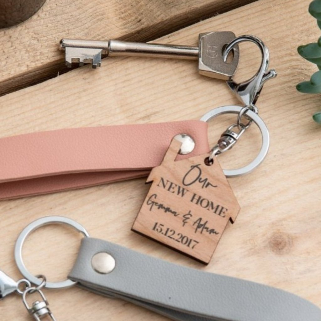 Personalised New Home Cherry Wood Keyring - Funky Laser