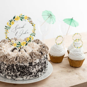 Personalised Summer Floral Couples Name Cake Topper Set - Funky Laser
