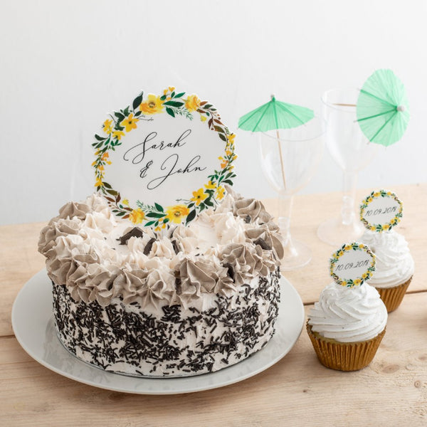 Personalised Summer White Floral Couples Topper Set - Funky Laser