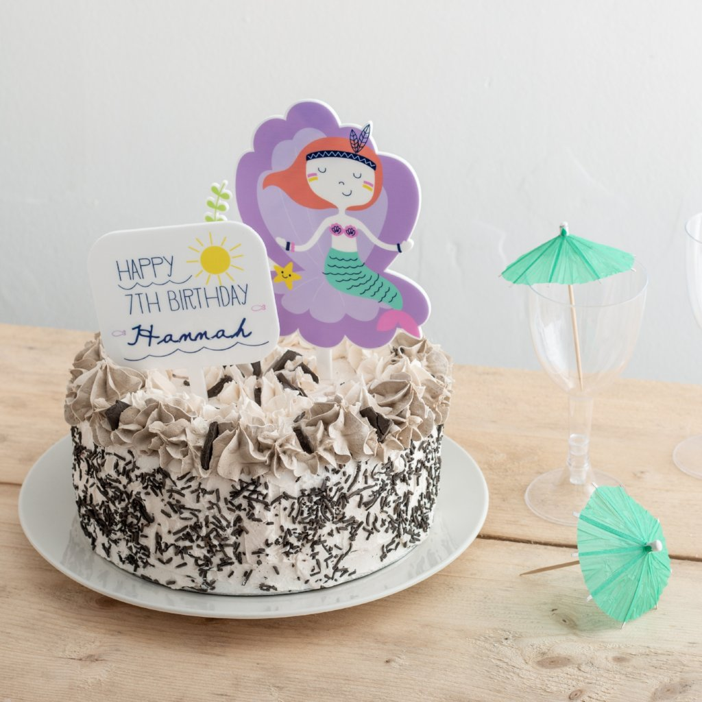 Personalised Birthday Girl Mermaid And Sign Cake Topper - Funky Laser
