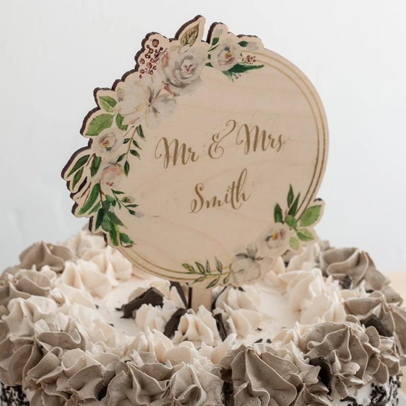 Personalised Winter Floral Couples Name Cake Topper - Funky Laser