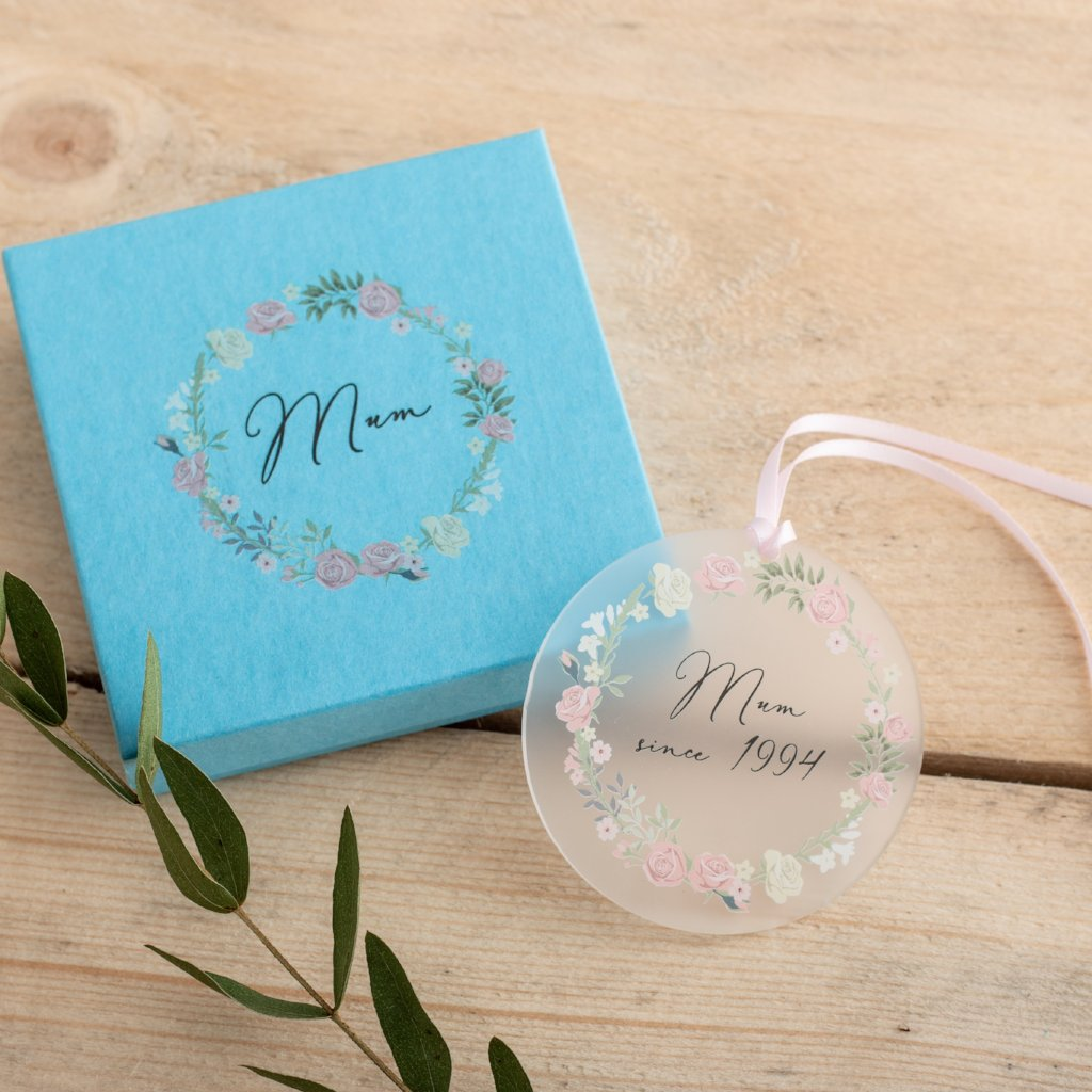 'Mum Since' Hanging Decoration And Gift Box - Funky Laser