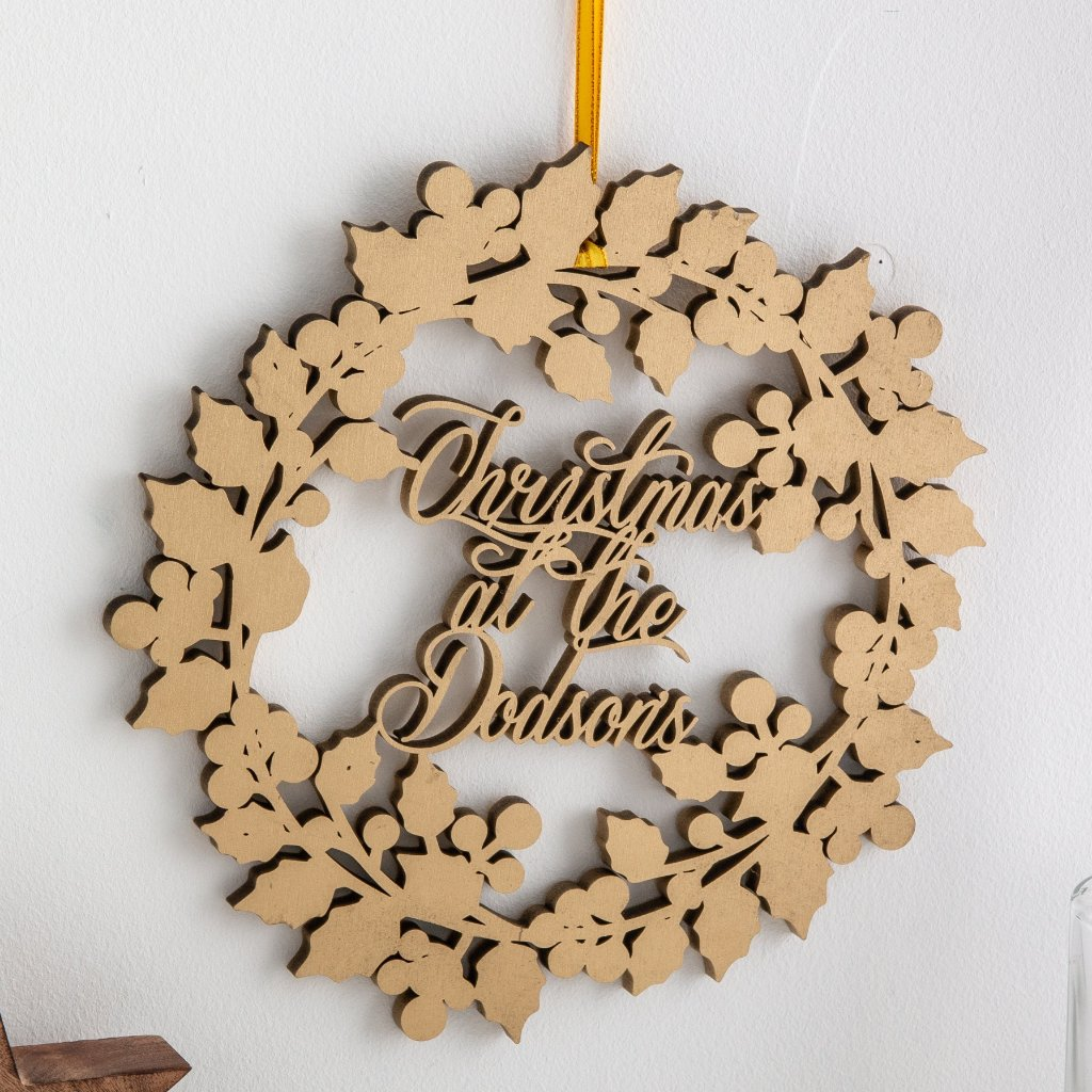Personalised Christmas At The Wooden Door Wreath - Funky Laser