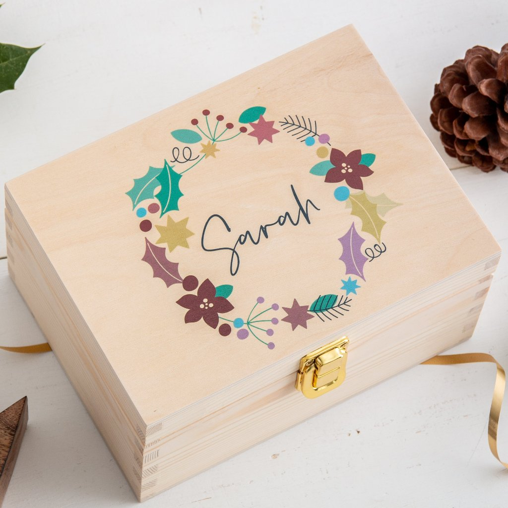 Personalised Christmas Wreath Wooden Gift Box - Funky Laser