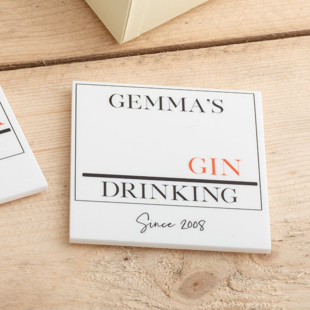 Personalised Favourite Drinks Street Sign Coaster Set - Funky Laser